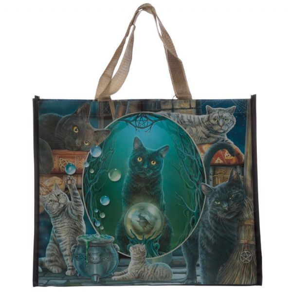 LISA PARKER Magic Witches Cat Montage Shopping Bag